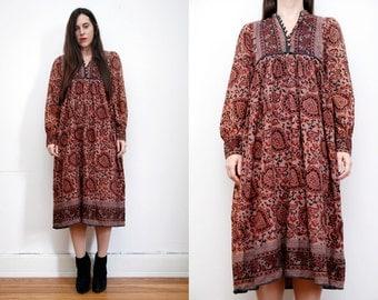 Vintage Indian Cotton Block Boho Dress Hippie Dress Ethnic Floral  Cotton Dress 70's