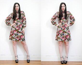 Vintage Floral Boho Grunge Revival 60's Mod Dress
