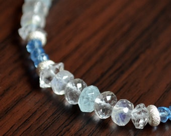 Blue Beaded Bracelet, Moonstone, Aquamarine, Blue Quartz, Herkimer Diamond, Sterling Silver, Winter, Gemstone Jewelry, Free Shipping