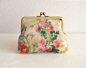 Elegant floral frame purse - beige - rustic, shabby chic, floral bouquet, clasp purse.