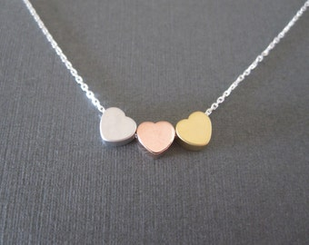 Triple Tiny Mixed Heart Necklace