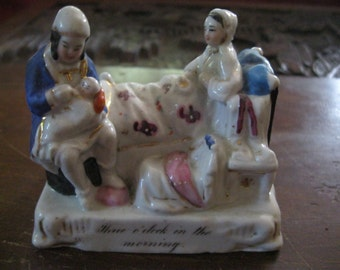 "VICTORIAN China FAIRING Whimsical FIGURINES ""Nine O'clock In The Morning"""