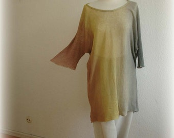 LINEN Asymmetrical Tunic , Knitted Hand -Dyed ,Handmade Tunics, Kimono  Sleeve , Eco Friendly ,Natural Clothing , Plus Size