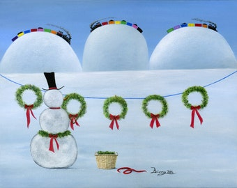 Original Painting Hilly Holiday Fancy - 11x14 - Christmas Folk Art Snowman Hangs Festive Wreaths Clothesline Trains - OOAK Acrylic on Canvas