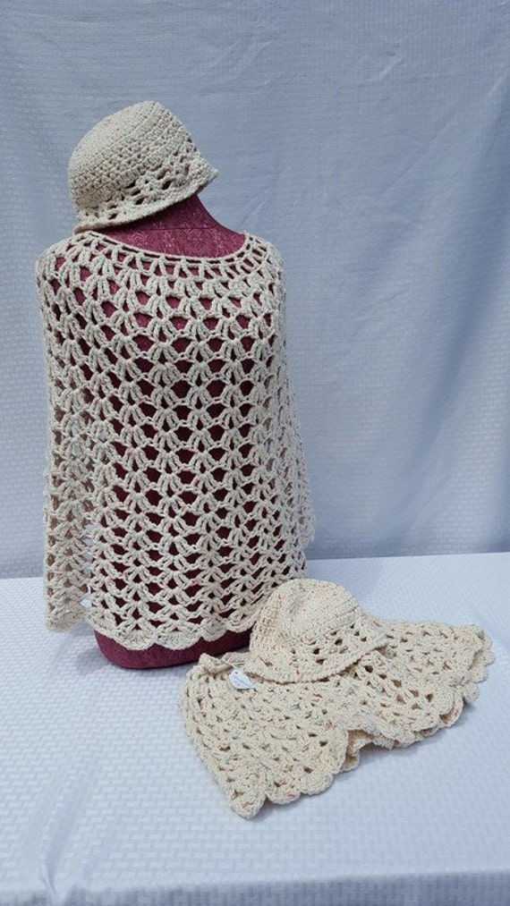Mother and Daughter hand crocheted boho chic poncho set with matching hats in tan with pink and blue -READY TO SHIP