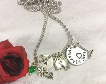 Gardening charm necklace, handstamped, says plays in dirt, personalized, gardening charms, gift for gardener, gardening gift