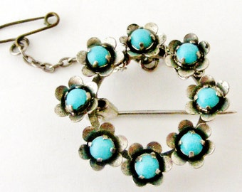 French round turquoise flower brooch