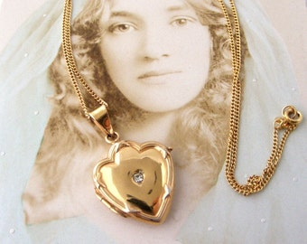 French vintage gold plated paste set shield locket on 18 inch gold filled chain
