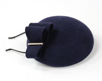 Mini Hat-Button-Fascinator-Wool Felt-Navy Blue