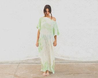 Cotton caftan, maxi loose dress, caftan dress, oversize dress, fashion abaya, tie dye summer gown, unique pice loose dress.