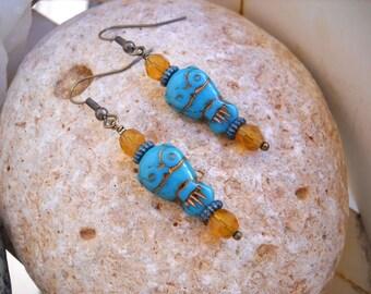 Turquoise Czech Glass Owl and Fire Polished Topaz Opal Beaded Earrings