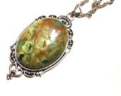 Rainforest Jasper Necklace // Jasper Pendant // Crystal Healing // Jasper Gemstone // Large Rainforest Jasper neckalce