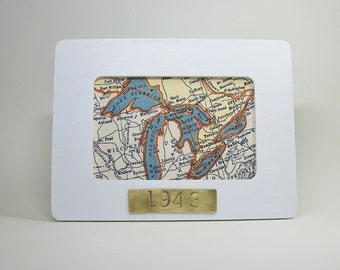 Great Lakes Map Framed with Hand Stamped Date on Brass Vacation Hostess Gift