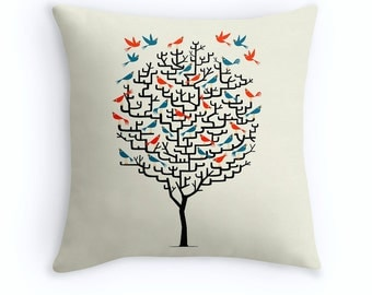 "Out On a Lark - illustrated Birds / Tree - Throw Pillow Cover / Cushion Cover (16"" x 16"") by Oliver Lake - iOTA iLLUSTRATION"