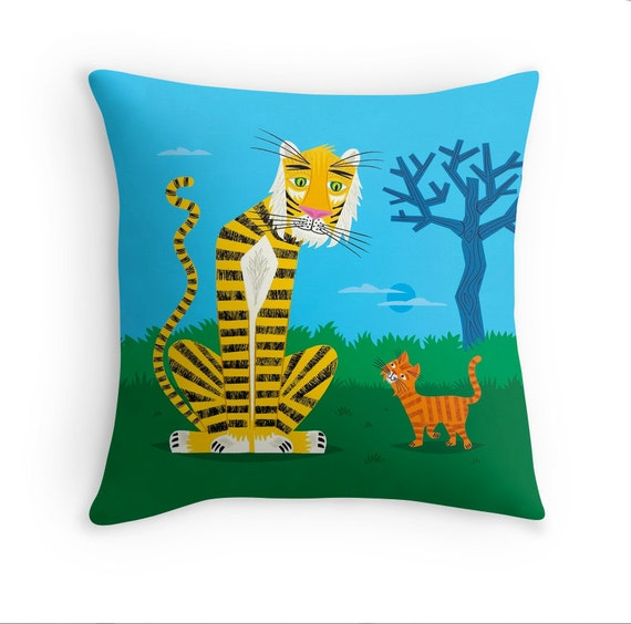 "The Tiger and The Tom Cat - Throw Pillow / Cushion Cover (16"" x 16"") by Oliver Lake"