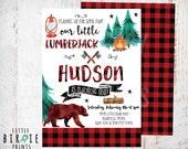 LUMBERJACK first BIRTHDAY INVITATION - Lumberjack first birthday party invitation - Buffalo Plaid Invitation - Watercolor Camping Bear