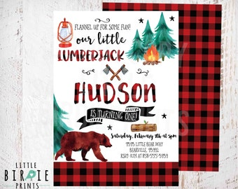LUMBERJACK first BIRTHDAY INVITATION - Lumberjack first birthday party invitation - Buffalo Plaid Invitation - Watercolor Camping Bear