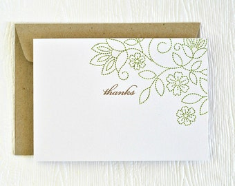 Thank you card // handmade blank greeting card // stitched floral pattern