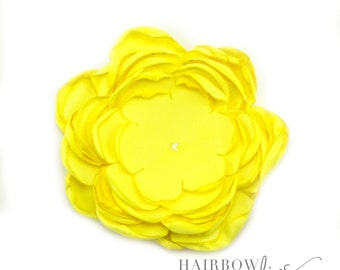 Yellow Singed Satin Flowers 4 inch Multi Layer Singed Flowers, Satin Flowers, Satin Flower Headband, Satin Singed Flowers, Flower Girl