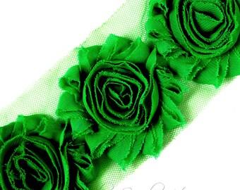 Green Shabby Flower 2-1/2 inches - Green Shabby Flowers, Green Flower Headband, Green Fabric Flower, Green Hair Flowers, Green Flowers