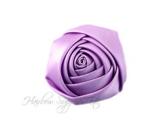 Light Purple Folded Satin Rolled Flowers Rosettes 2 inch-Light Purple Hair Flowers, Light Purple Flowers For Headbands, Purple Satin Flowers