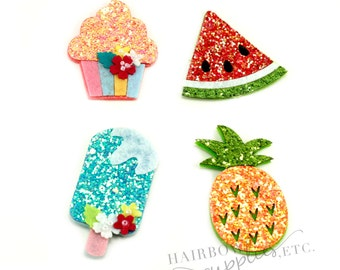 Glitter Felt Appliques - Felt Applique, Feltie, Felties, Summer Felties, Wholesale Felties, Felt Accessories, Felt Hair Clip, Felt Hairclips