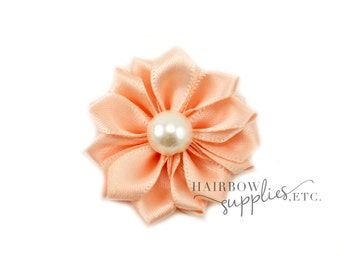 Peach Dainty Star Flowers with Pearl 1-1/2 inch - Peach Fabric Flowers, Peach Silk Flowers, Peach Hair Flowers, Peach Flowers for Hair
