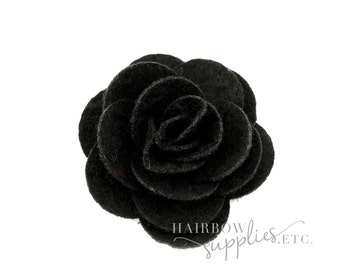 Black Felt Roses Medium 1-3/4 inch - Black Felt Flower Headband, Black Felt Flower Clip, Black Felt Flower Bouquet, Black Felt Hair Clip