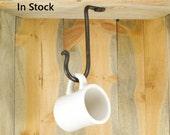 Large Hand Forged Under Cabinet Hook - Ceiling Hook - Cup Hook - Plant Hanger