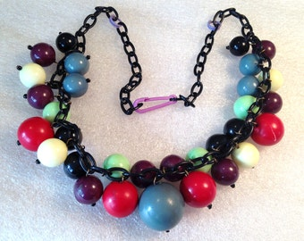 Vintage early plastic multi-colors balls necklace
