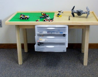Ultimate 8 Plate REAL WOOD  lego  table with drawers.