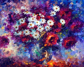 ORIGINAL Oil Painting made to order impasto colorful painting palette knife painting modern painting flowers painting texture ART Marchella