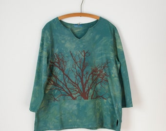 2X green french terry top hand dyed and printed with tree