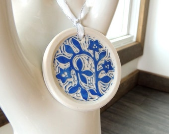 Porcelain Ornament, Hand Made and Hand Carved in Classic Blue and White