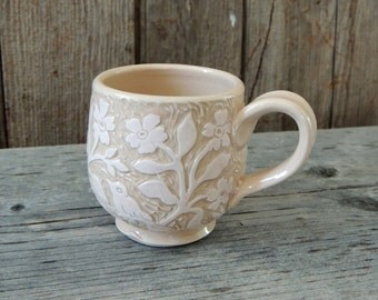 Small Cup, Handmade, With a Hand Carved in a Pink Lacy, Flowery Design