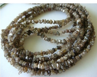 50% ON SALE Sparkling Champagne Brown Rough Diamonds - Natural Rough Diamond Chips - 3mm - 2mm Approx. - 7.5 Inches Half Strand