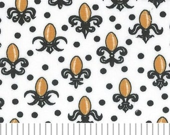 Black and Gold Fleur de Lis Cotton by Fabric Finders