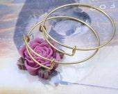 Raw brass Bangle Bracelet, Adjustable Charm Bangle Bracelet, Copper Wire Wrapped Bangle Bracelet, Expandable,Jewelry Making Supplies