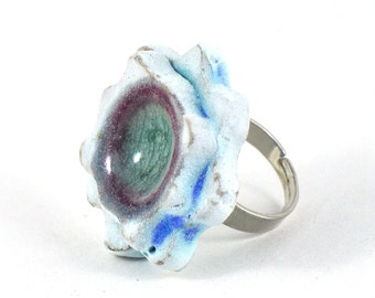 Ceramic Flower Ring on Adjustable Ring Shank Baby Blue with Fused Glass Handmade Pottery Statement Jewellery Available in three colours
