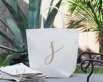 Set of 5 Personalized Custom Monogram Gold Lowercase Letter S Large Canvas Bags, Beach Bags, Bridesmaid Gift Bags, Bridesmaid Bags