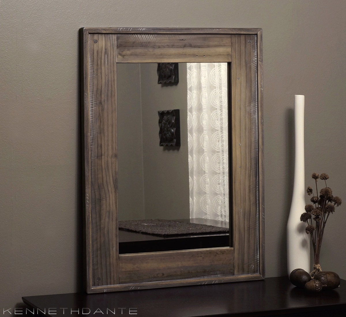 reclaimed wood mirror bathroom mirror rustic by kennethdante 20112