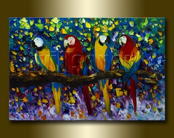 Parrot Portrait Original Animal Oil Painting Textured Palette Knife Modern Art 24X36 by Willson Lau