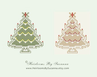 Machine Cross Stitch Embroidery Design - Christmas Tree Embroidery Design for Ornaments - Holiday Design - INSTANT Download- PES - JEF- 4x4