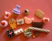 Kawaii decoden deco diy cabochon mix  mini sweets 15 pcs # 530 --USA seller