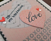My Valentine Handmade Greeting Card in Coral and Gray