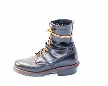 men's leather lace up work boots size 11- work boots- black leather combat boots- grunge boots- heavy work boots