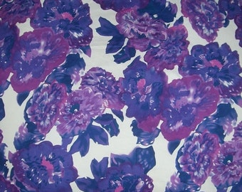 ON SALE REMNANT--Purple and White Watercolor Floral Print Stretch Cotton Sateen Fabric--One Yard