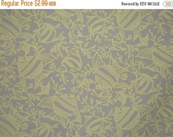 ON SALE SPECIAL--Beige with Yellow Fish Print Stretch Cotton Fabric-One Yard