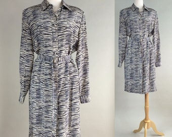 Silk Dress / Vintage 80s Adrianna Papell Silk Dress / 1980s Vintage Animal Print Dress / Vintage Dress / 80s Vintage Dress / Dress