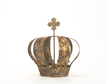 Gold Crown Cake Topper, Antique Gold Crown, Cross Top